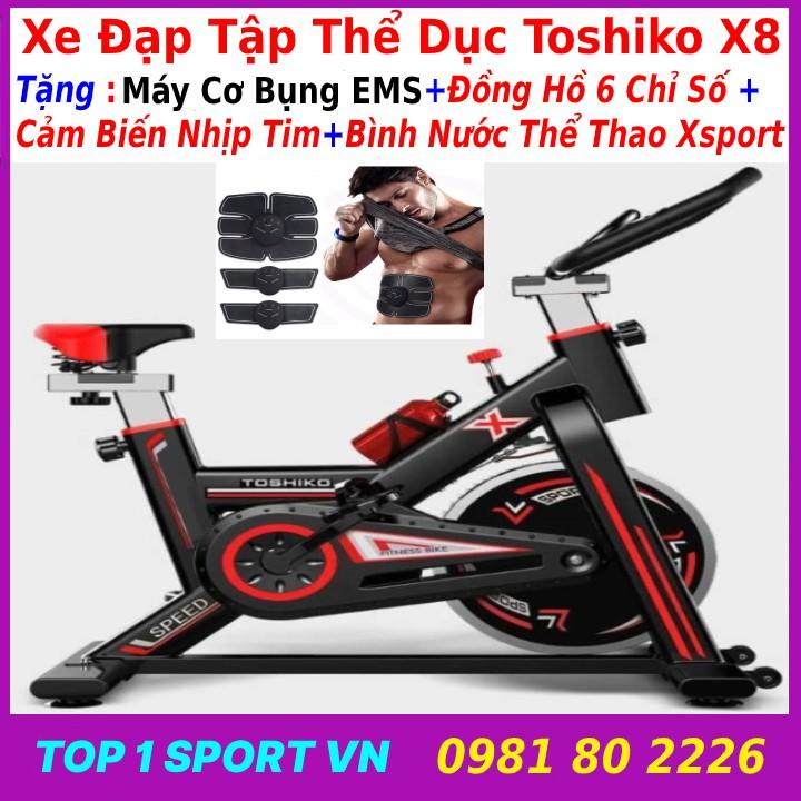 Xe đạp tập thể dục tập gym tại nhà Toshiko X8 GH-709 Tặng máy tập cơ bụng EMS + đồng hồ nhịp tim + bình nước thể thao