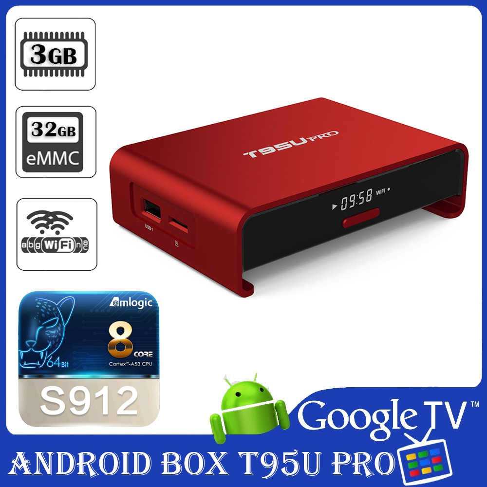 Android TV Box T95U Pro phiên bản Ram 3GB và bộ nhớ trong 32G