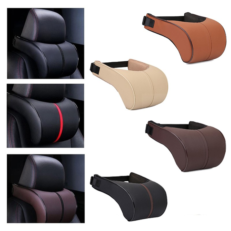 Gre Leather Memory Cotton Car Neck Rest Pillow Pad Seat Cushion