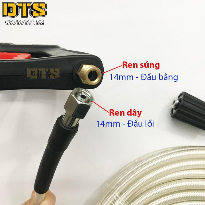 Bộ súng xịt DTS1 Ren ngoài 14mm - Đầu ren bằng và bình tạo bọt tuyếtchất lượng cao