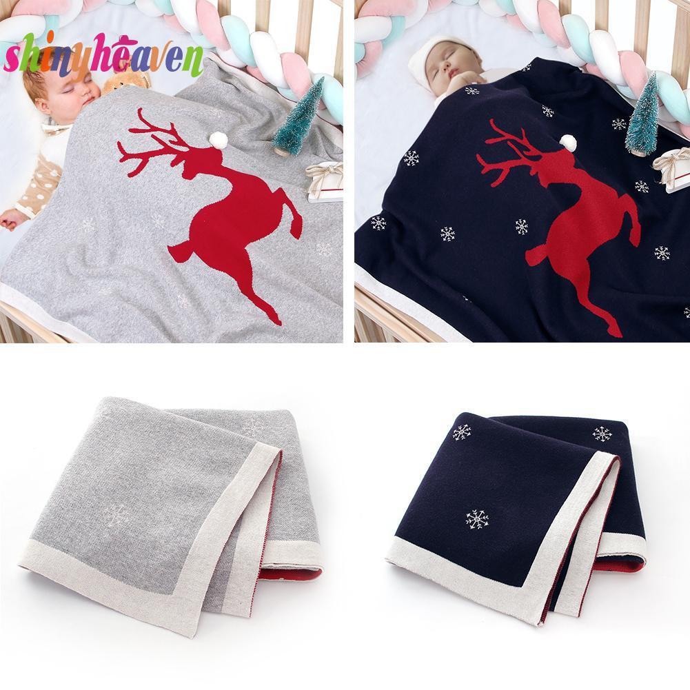 【Yuiiki】Cotton Newborn Christmas Lovely Elk Baby Bedding Blanket Photography