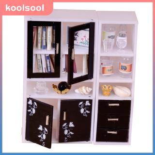 1:12 Dollhouse Miniature Doll Furniture Wooden Brown Display Cabinet Cupboard, Doll House Furnishings Dollhouse Decorations Kit, White & Black