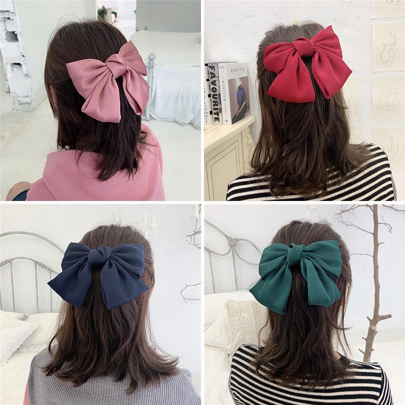 Kẹp tóc/ Dây cột tóc nơ to bản màu trơn thời trang nữ