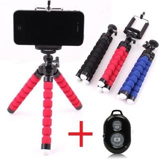 [Free ship 150k] Combo Giá đỡ chụp ảnh điện thoại bạch tuộc + Remote chụp hình tự sướng Bluetooth