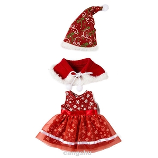3pcs Girl For 18 Inch Soft DIY Handmade Hat Dress Kids Toy Cape Dressing Up Christmas Doll Clothes Set