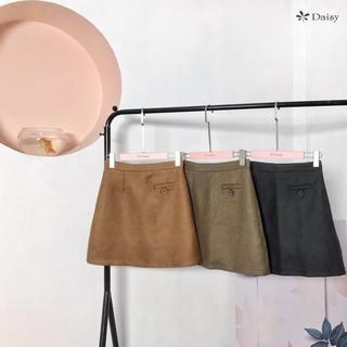 324048 – Chân váy dạ 1 ly trước + 1 túi trước giả đính cúc