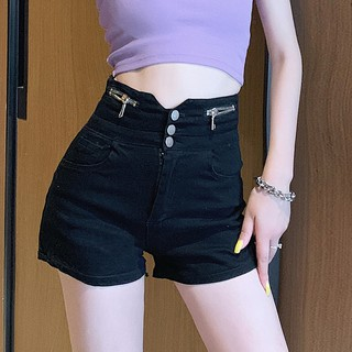 2020 summer new fashion trendy brand black stretch denim shorts loose and thin high waist hot pants curly pants women
