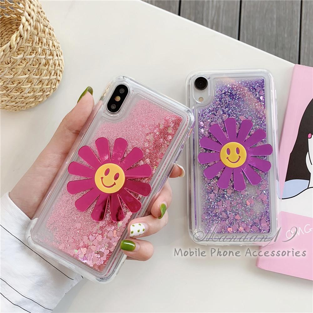 Huawei Y5 2017 Y5 Prime Y6 2018 Y6 ii Case Couple Liquid Glitter Flower Quicksand Casing Cover