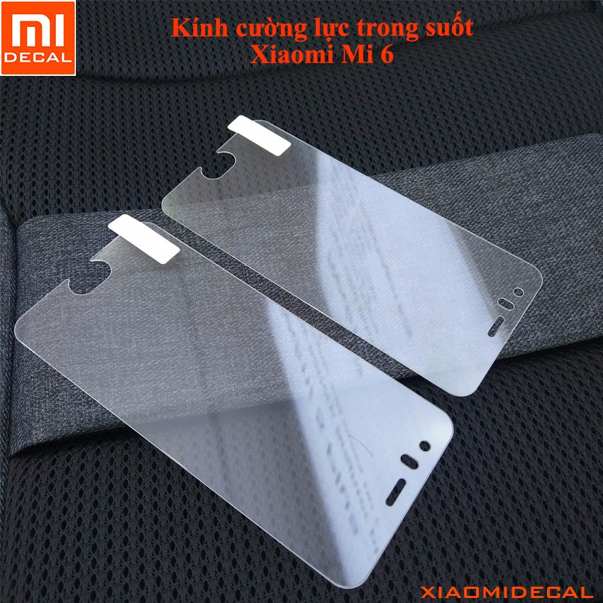 [ Xiaomi Mi 6 ] Kính cường lực trong suốt - Tặng Khăn lau + keo