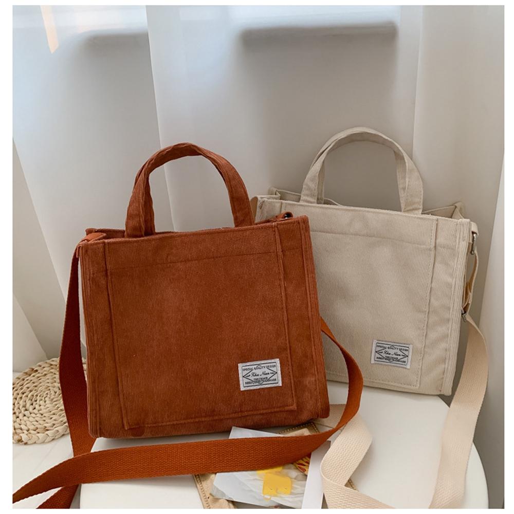 DAPHNE Small Cotton Corduroy Female Eco Crossbody Bag Vintage Zipper Shoulder Bag