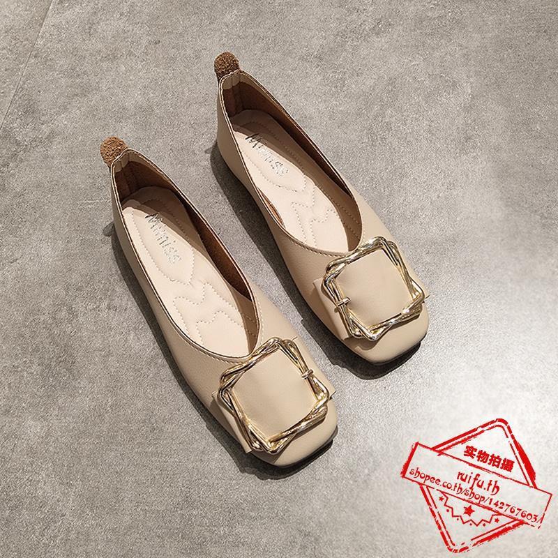 ารางรองเท้าแบนหญิงปากตื้นแบนกับรองเท้าถั่วด้านล่างนุ่มหัวเข็มขัดรองเท้าเด็กที่จะทำงานเพื่อขับรองเท้า