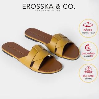 Dép đi biển thời trang Erosska 2021 đan chéo đế bệt DE028