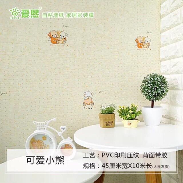 10m giấy dán tường gấu Iloveyou sẵn keo khổ 45cm*10m