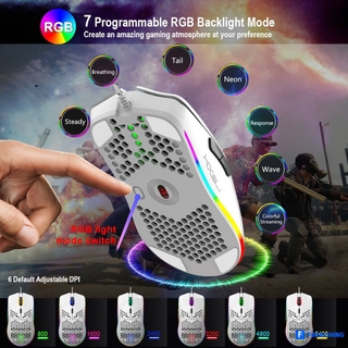 HXSJ J900 USB Wired Gaming Mouse RGB Gamer Mouses with Six Adjustable DPI Honeycomb Hollow Ergonomic Design for Desktop c