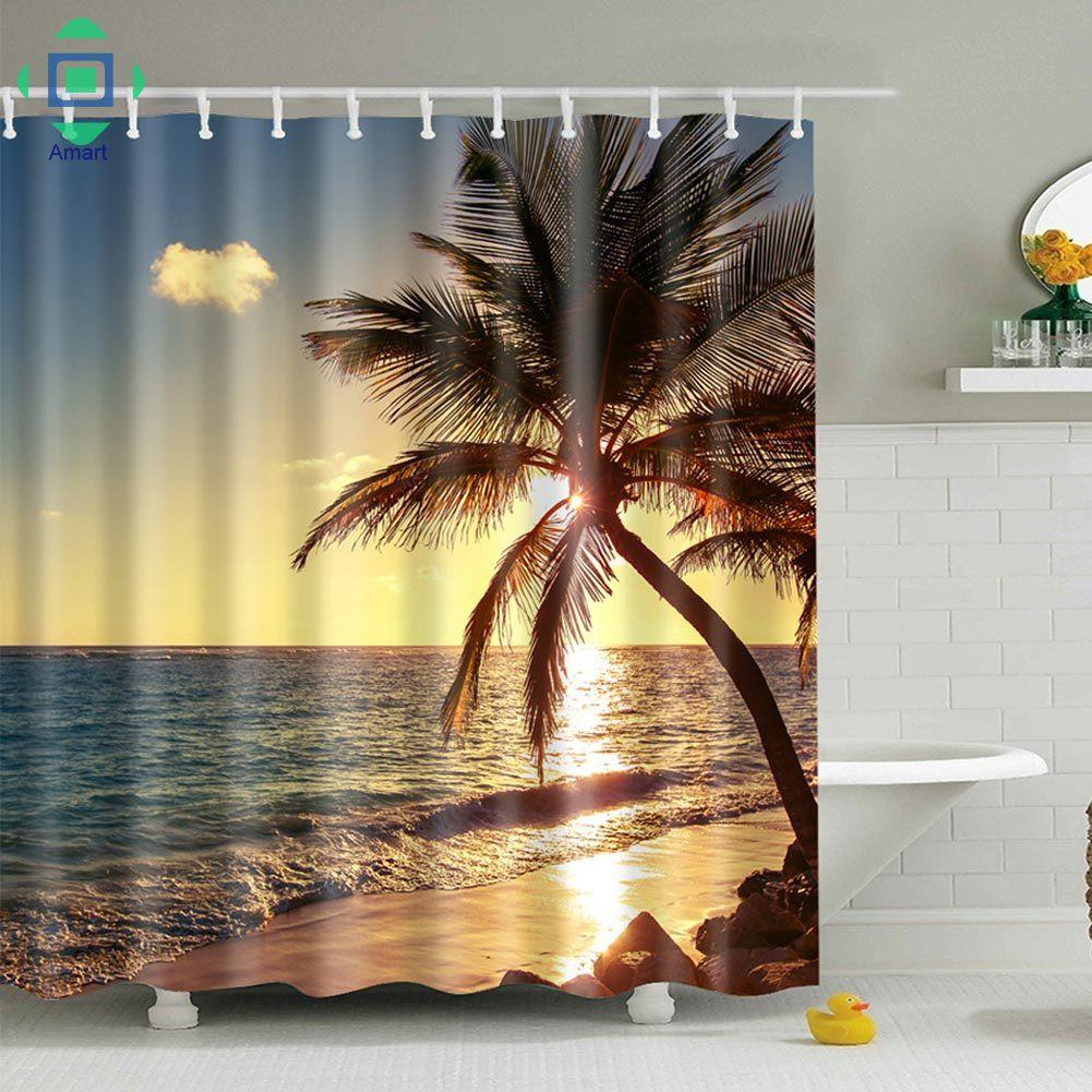 Rèm cửa nhà tắm chống khuẩn chống nước in họa tiết phong cảnh