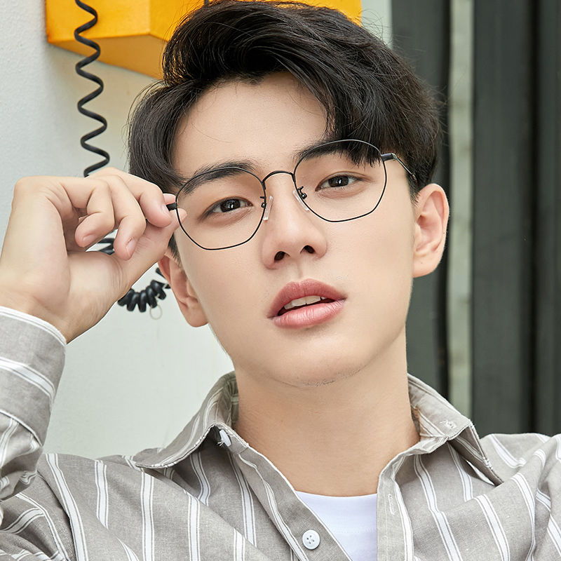 Myopia Glasses Women's Korean-Style Fashionable Retro Gold Silk Polygon Plain-Looking round Face Glasses Frame with Chain for Male Students 1Jc6