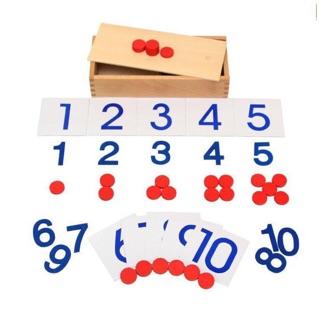 Giáo cụ Montessori Thẻ số và đếm số ( Number Cards & Cointers)