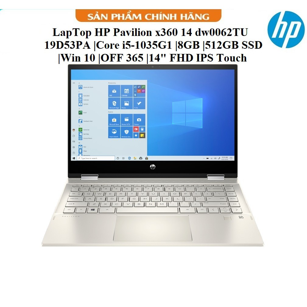 "LapTop HP Pavilion x360 14 dw0062TU - 19D53PA |Core i5-1035G1 |8GB |512GB SSD |Win 10 |OFF 365 |14"" FHD IPS Touch"