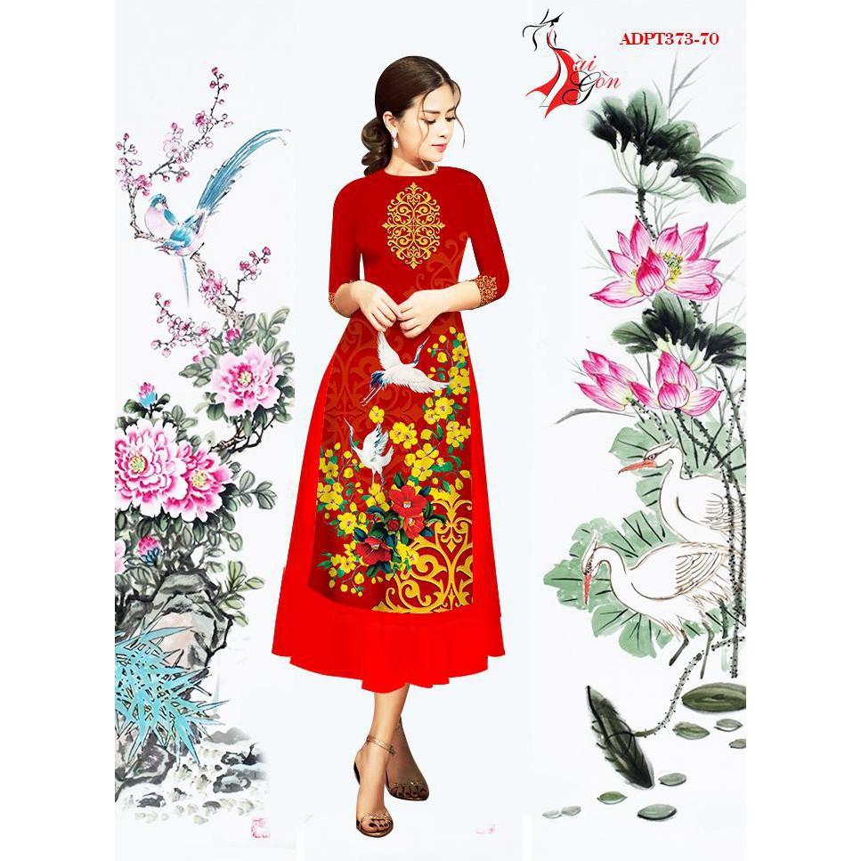 1937571314 - Set Áo Dài Cách Tân Hoa kèm Chân Váy Xòe Siêu Xinh (4 màu)