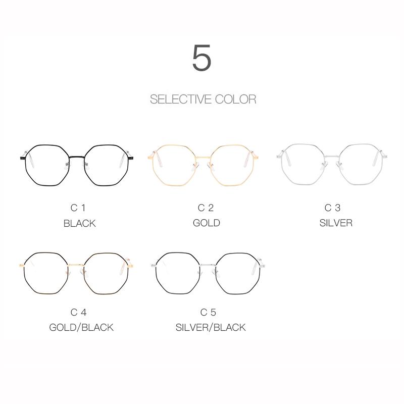 [Mã CBBU99 giảm 15K đơn 50K] Mắt kính cận gọng kim loại đa giác chống ánh sáng xanh