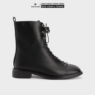 Giày Bốt Nữ Boot Da Dây Cúc 3Phân HAPAS - BOT357
