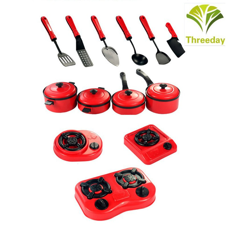3D❤ 13pcs House Kitchen Pretend Play Utensils Cooking Pots Pans Food Dishes Kids Cookware Gaming Toy