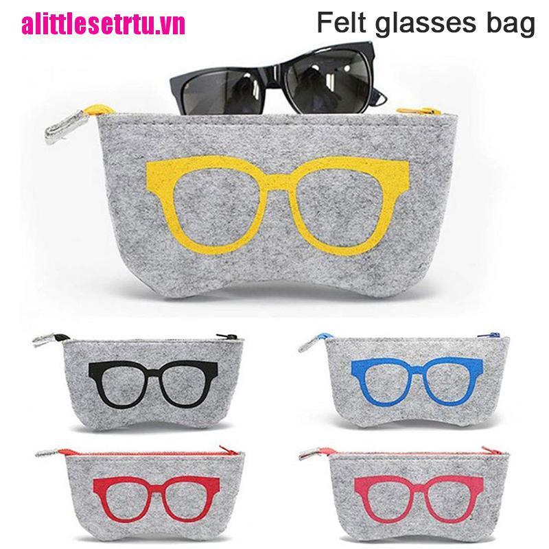 【well】Felt Glasses Case Bag Sunglasses Case Box Portable Soft Zipper Glasses Pr