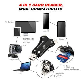 Đầu đọc thẻ nhớ máy ảnh OTG 4 in 1 cho điện thoại, máy tính bảng, laptop