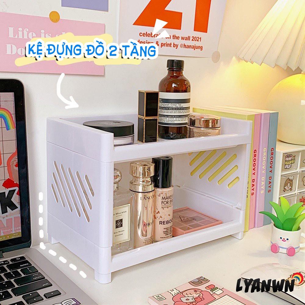 New Kệ đựng đồ 2 tầng mini lớn lưu trữ  trang sức mỹ phẩm phong cách Hàn Quốc ins lyanwn