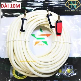 Cáp loa 1 đầu 3.5mm ra 2 đầu bông sen dài 10M lõi đồng cao cấp JSJ, Choseal,Honjianda (dây loa 1 ra 2)