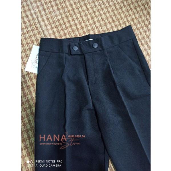 Mặc gì đẹp: Quần tây đen công sở nữ dài 2 khuy bấm mặc đi làm học cạp lưng cao - Dáng quần baggy vải công sở dày mềm phối áo sơ mi