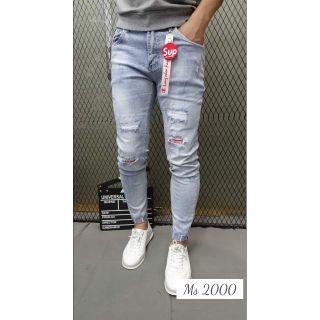 Quần jean nam rách gối màu xám xanh, quần jean nam rách rẻ đẹp