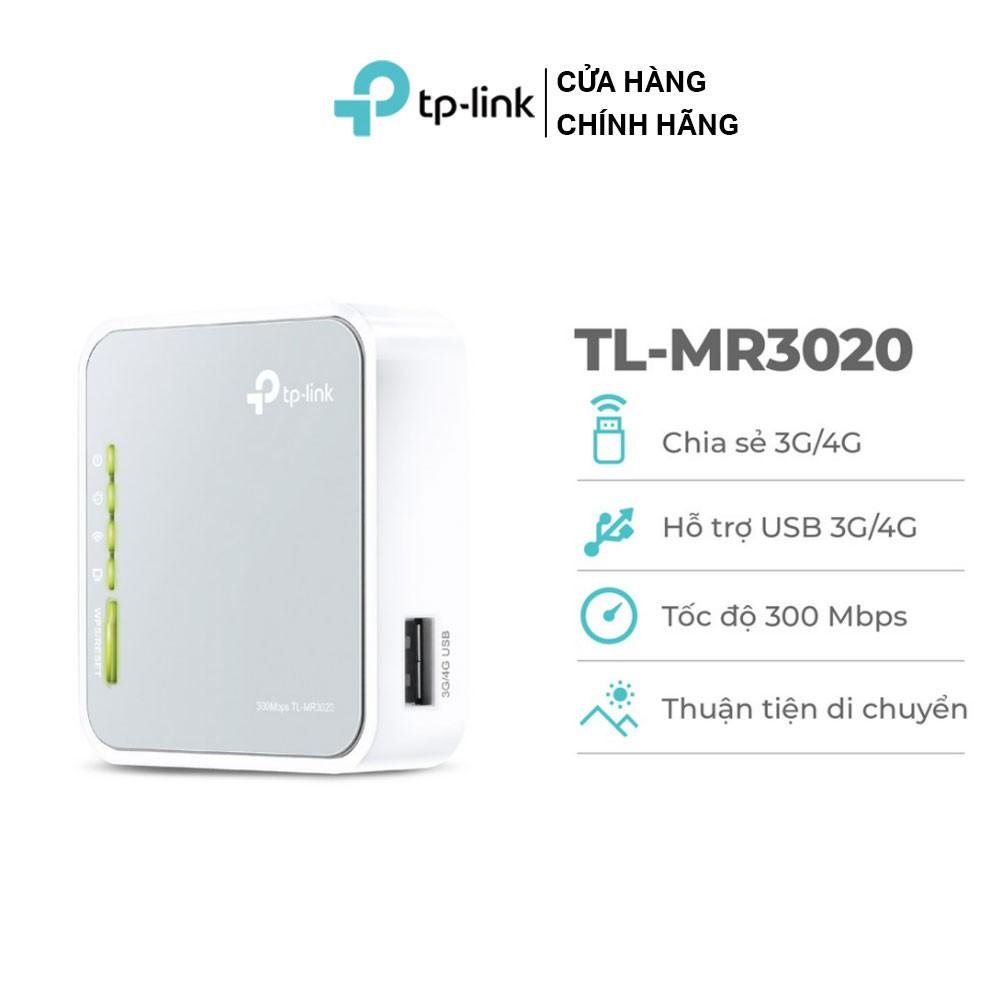 TP-Link Bộ phát wifi di động 3G 4G (sử dụng USB) Chuẩn N 300Mbps TL-MR3020
