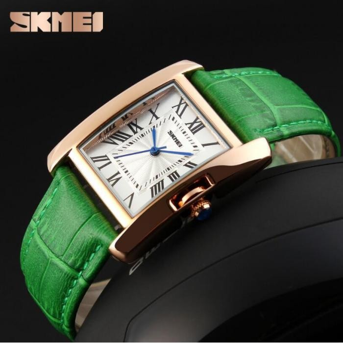 Đồng hồ nữ skmei dây da xanh lá cây nữ tính