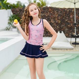 Bộ đồ bơi cho bé gái lớn 2 mảnh chân váy rời kiểu dáng thể thao