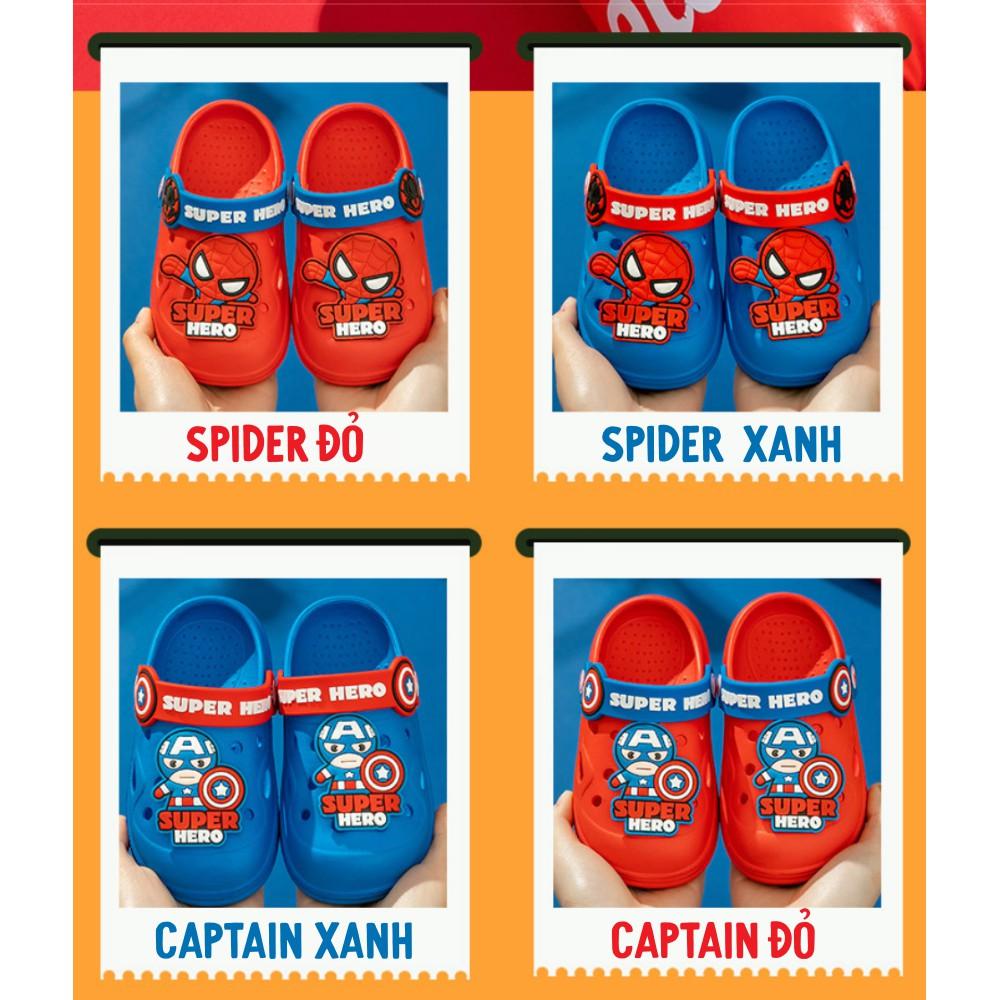 Dép sục cho bé trai hình siêu nhân người nhện siêu nhẹ chống trơn trượt độ bám cực tốt chất liệu mềm mịn
