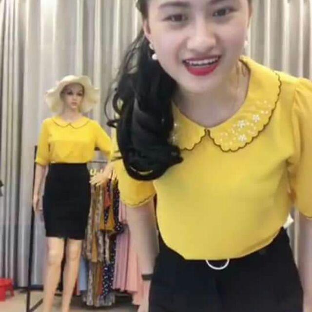 1068245669 - Áo vàng s, chân váy xòe dài đen