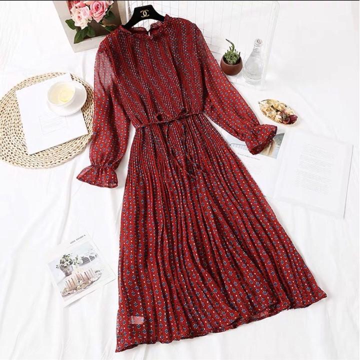 Mặc gì đẹp: Dễ chịu với Váy bầu chất voan hai lớp _ Đầm bầu công sở xếp ly đẹp sang chảnh