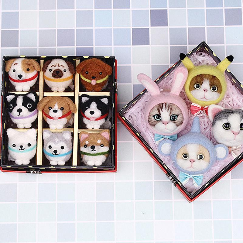 卐Poke Le wool felt DIY material pack set Handmade zoo adult personality Creative Fabric Cat