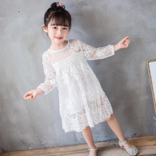 Đầm công chúa thêu họa tiết ren xuyên thấu cổ tròn phong cách công chúa dành cho bé gái