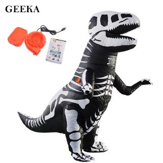 Inflatable Skeleton Dinosaur Costume Black + White Halloween For Adults Unique