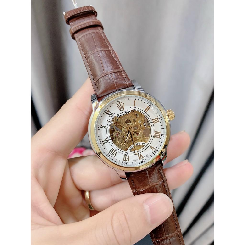 [Mã FAGREAT55 giảm tới 50K đơn 250K] (Rolex) Đồng hồ Nam rolex cơ dây da cao cấp - Bảo hành 12 tháng MTP-STORE