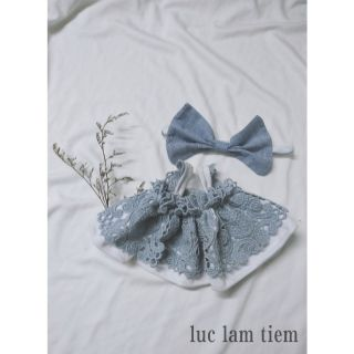 Set đầm và nơ outfit doll