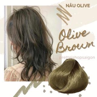[kèm Trợ Nhuộm Ủ tóc] Kem nhuộm tóc màu NÂU OLIVE-Không Tẩy
