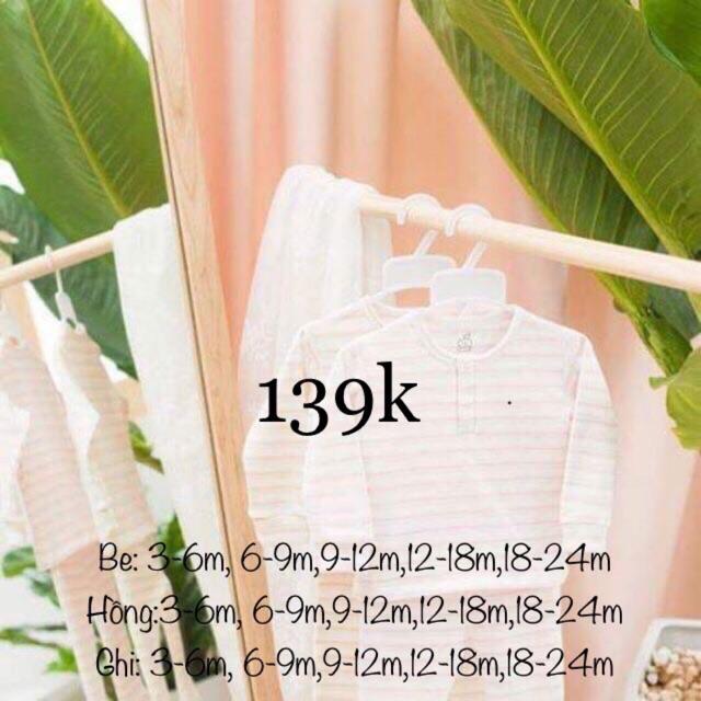[Sale 139k- SL060 La pomme] Bộ dài tay cúc bấm cổ trụ có bo tay