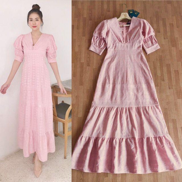 สวยหวาน!!! Maxi Dress เดรสสีชมพูคอวีแขนพองผ้าปักลูกไม้ งานป้าย Oneone