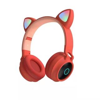 Tai Nghe Chụp Tai Bluetooth 5.0 Có Micro Hình Tai Mèo Dễ Thương Jack 3.5mm