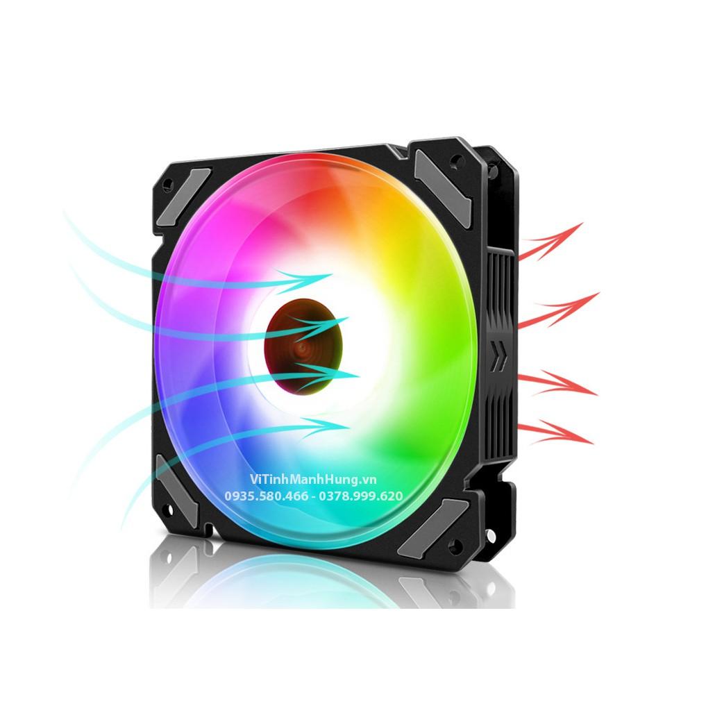 Quạt CoolMoon X5 - Fan CoolMoon X5, Led RGB 12cm, 6 pin, 1200rpm, đồng bộ hub CoolMoon.