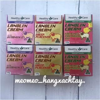 Kem nhau thai cừu Healthy Care Lanolin with Sheep Placenta/ Vitamin E / Hoa Anh Thảo Everning Primrose 100g