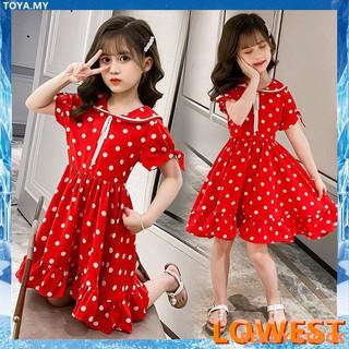 Đầm Xòe Công Chúa Màu Đỏ In Họa Tiết Hoa Giáng Sinh Dễ Thương Cho Bé Gái 2-9 Tuổi